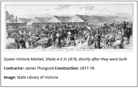 Text Box:   Queen Victoria Market, Sheds A-E in 1879, shortly after they were built Contractor: James Thurgood Construction: 1877-78   Image: State Library of Victoria